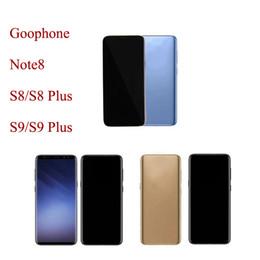 2019 melhor celular mp3 player Desbloqueado Goophone S8 + S8 Plus 9+ 9 mais Note8 Note 9 Tela Cheia 1 GB + 4 GB / 8 GB / 16 GB Impressão Digital Mostrar 4G LTE Android 3G Smartphone