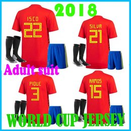 Wholesale spanish suit - 2018 NEW Spanish WORLD CUP soccer Jersey MORATA A.IMNIESTA DAVID RAMOS ISCO ASENSIO FABREGAS PIQUE suit+ socks FOOTBALL SHIRTS