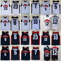 Wholesale olympic basketball jerseys - 2012 Olympic Games USA Dream Team #5 Kevin Durant #6 James 12#James Harden Jersey 7# Westbrook 10#Kobe Bryant Basketball Jerseys