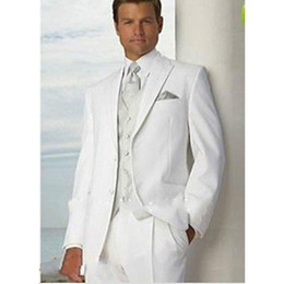 2019 утренняя свадьба New Simple White Groom Tuxedos Two Button Men Formal Suits Wedding Groomsman Suit Summer Morning Style Wedding mens Tuxedos скидка утренняя свадьба