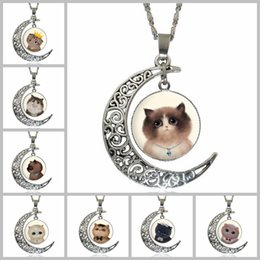 Wholesale Cute Gold Pendant - Cute Kitty Cat Totem Time Gemstone Chokers 4*3.5cm Hollow Moon Pendants Designer Women Men Necklaces Jewelry Mother Day's Gifts