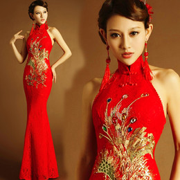 red chinese wedding dress Promo Codes - chinese traditional dress red long mermaid qipao lace style wedding cheongsam dress modern phoenix elegant plus size embroidery