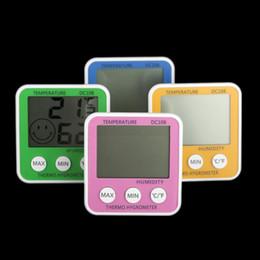 Display eletrônico interior on-line-Termo-Higrômetro doméstico DIGITAL Medidor de umidade de Temperatura grande display LCD termômetro eletrônico higrômetro indoor DC108 200 pc