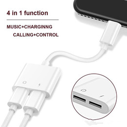 Wholesale Iphone Audio Adapter Cable - 2 in 1 Dual For Lightning to Headphone Audio Charger Adapter Connectors Cable For iPhone 7 8 X Plus For iOS 10.3 11 Charging Music