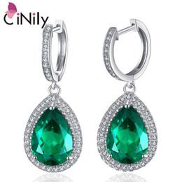 CiNily Authentic. Argent massif 925 créé en émeraude verte, nouveaux bijoux raffinés pour les femmes, boucles d'oreilles pendantes de mariage SE035 ? partir de fabricateur