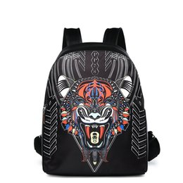 Wholesale Tiger Print Bags - 2018 Luxury brand cool animal boy tiger head New Fashion men designer Backpacks Wholesale Leather PU Backpack School computer Bags 180106001