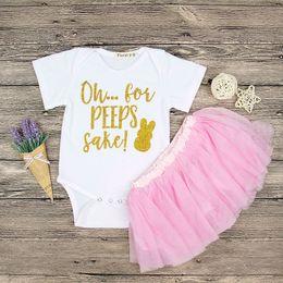 Wholesale Rabbit Romper - Baby girls Easter bunny outfits letter rabbit print romper+tutu lace skirts 2pcs set 3 colors suits 2018 Boutique Kids Clothing Sets C3803