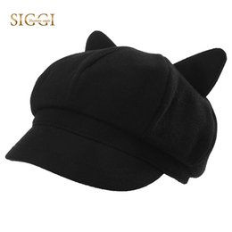 beret hat cat ears Promo Codes - SIGGI Family Berets Hats For Women Girls  Solid Woolen b6418078a870