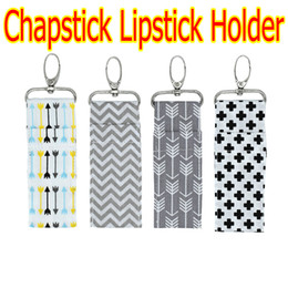Wholesale arrow holder - 2018 NEWEST INS Chapstick Holder Cross Arrow Zigzag Chevron Lipstick Keychain Lip Bag 4 Colors Multi Purpose Key Lip Palm Holder Pure Cotton
