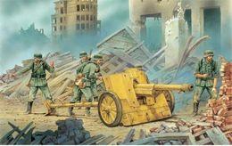 Wholesale Cm Fire - Free shipping art city ruins calculation German antitank guns 75 cm PaK 97-38 on fire the position 4 Sizes Home Decoration Canvas Poster Pri