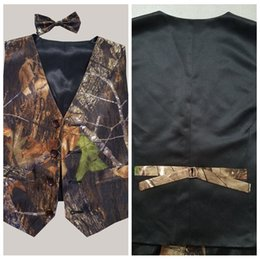 Wholesale Kids Black Tie Suit - 2018 Cheap Sale Satin Camo Vest Kids Formal Wear Boy's Wedding Wear Custom Made With Tie Camouflage Boy Outwear Cute Little Boy Vest