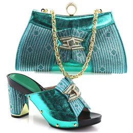 Wholesale Matching Shoes Bags Heel - Hot Sale Italian Rhinestone Shoes With Matching Bags For Party High Quality African Style Woman Shoes And Bags Set YH-08