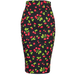 b4e091a68a5e6 40- summer women vintage pinup 50s high waist wiggle midi pencil skirt in  cherry print plus size saia semi-sheer faldas skirts