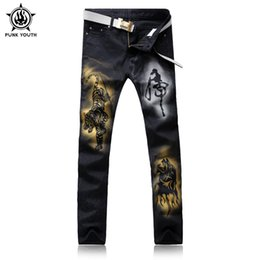Wholesale Tiger Stripes Pattern - Punk Youth Male Black Tiger Print Jeans Shorts Male Casual Trousers rend Slim Small Trousers For Men's Clothing Large Size 28-38