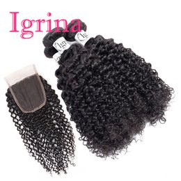 влажное курчавое закрытие Скидка Igrina Indian Curly Virgin Hair 4 Bundles с кружевным закрытием Weave Jerry Curly Deep Curly Wet and Wavy Human Hair Bundles With Closure