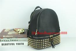 Wholesale soft travel backpacks women - Fashion women famous brand Rivet backpack MICHAEL KALLY handbags girl school bag lady luxury Designer bag shoulder bags purse travel package