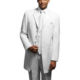 Smokings blonds longs de mariés en Ligne-Mode Long Design Blanc Hommes Smokings Excellent Quatre Boutons Smooth Mariée Tuxedos Hommes Dîner De Soirée De Costume De Vêtement 3 Pièce Suit