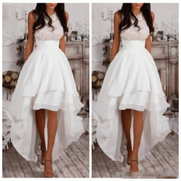 Wholesale Keyhole Halter Top - White Halter A Line High Low Prom Dresses Chiffon Tiered Women Homecoming Dress Cheap Lace Top Special Occasion Gowns Custom Made