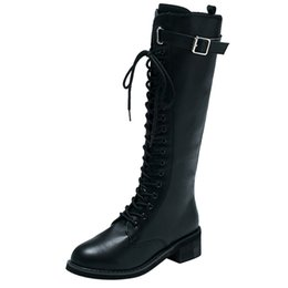 ae4585f0374eb Large Size Women Leather Zipper Square Heel High Boots Over The Knee Shoes  Martin Boots Hot Sale