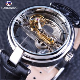 Wholesale Mechanical Hollow Sided - Forsining Minimalism Design Double Sided Hollow Steampunk Mechanical Watch Men Luxury Brand Leather Skeleton Wrist Watches Clock