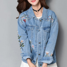 Wholesale Korean Jeans Jacket Women - New Arrival Embroidery Women Denim Jacket Korean Pop Casual Female Jeans Coat Long Sleeve Loose Chaqueta Mujer Autumn Winter Jaqueta