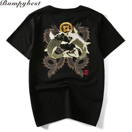 Wholesale Fish T Shirt L - 2017 High Quality Hand Embroidery Brocade Carp Fish And Dragon Men T -Shirt Short Sleeve O -Neck Male Tops Plus Us Size Xs -Xxl