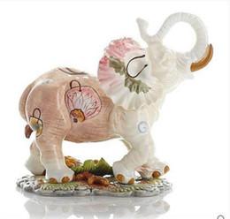 Cerámica kawaii online-Flores de cerámica del elefante decoración del hogar artesanías decoración de la habitación cerámica kawaii adorno de porcelana jardín figurines animales decoración