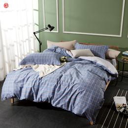 Комплект осеннего пододеяльника онлайн-Home textile man bedding set 100%cotton grid duvet cover set queen king brief stripe bed sheet linen adult Autumn Winter bedding