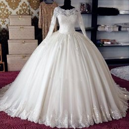 Wholesale Muslim Girls - Long Sleeve Vintage Wedding Dresses 2017 for Girls Illusion Beading Bling Appliques China Zipper Ball Gowns Bridal Gowns for Muslim