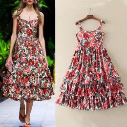 65475e545c09 HIGH QUALITY Designer Runway Fashion Rose Flora Print Dresses Women  Spaghetti Strap Layer Ruffle Sleeveless A-Line Dress Beach Holiday