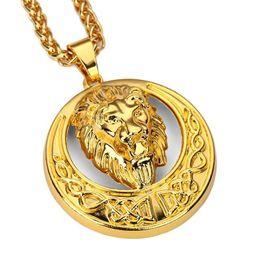 Wholesale Lion Head Silver Pendants - 2018 Metal Alloy Moon Disc Lion Head Pendants & Necklaces Animal King Gold Silver Color Cool Fashion Jewelry Men Women Best Gift