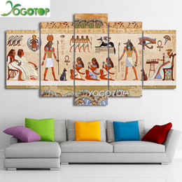 Pintura egípcia on-line-Atacado YOGOTOP DIY Pintura Diamante Cross Stitch Kits Completa Diamante Bordado 5D Diamante Mosaico Home Decor Egito pessoas 5 pcs ML243
