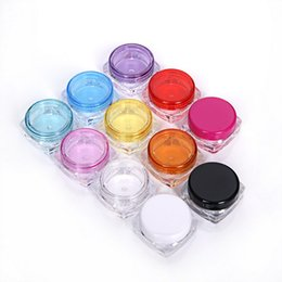 Wholesale Bottle Cap Art - 3g 5g Cosmetics Jar Box Makeup Cream Nail Art Cosmetic Bead Storage Pot Container Round Bottle Portable Plastic Transparent Case