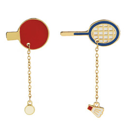 Wholesale decorating charms - Campaign Sports Table Tennis Badminton Racket Charm Collar Badge Decorated Enamel Pins Cartoon Cute Sporty Brooches for Sports Lover