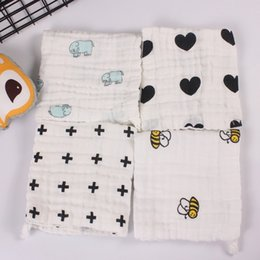 Wholesale Water Check - 5pcs a lot baby towel 4 layers 100% cotton handkerchief infants wipe cloth soft water absorption black white cartoon patterns