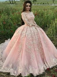 Кружевной режим онлайн-Румяна розовый вечерние вечерние платья принцессы с длинным рукавом 2018 режимы 3D цветочные кружева пышные юбки Дубай арабский случаю Пром платье плюс размер