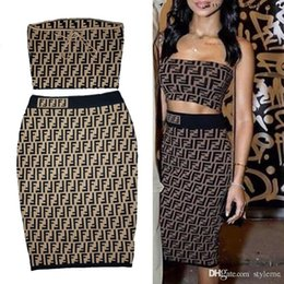 Wholesale drawstring dress women - Brand Designer Women Letter Jacquard Stretch Dress 2018 High Street Fashion Knitted Drawstring Crop Top Long Skirt Party Set Brief Knitwear