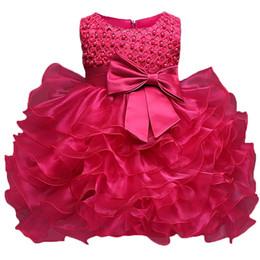 vestidos de aniversário de bebês Desconto Vestido da menina Da Criança de Batismo Vestido de Batismo Infantil Crianças Traje Do Partido Para A Menina Do Bebê 1o Aniversário Bebês Recém-nascidos Vestido