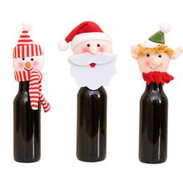 tasa de productos Rebajas Encantadora botella de vino tinto cubierta de lana bolsas de decoración de Navidad suministros decoración fiesta en casa Santa Claus Navidad productos clasificados