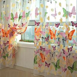 2019 vorhang falten stile 204 cm x 95 cm Romantische Schmetterling Vorhänge garn Tüll Vorhang DIY Vorhänge Für Wohnzimmer Fenster Vorhang Screening Große größe