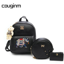 Wholesale Trendy Backpacks For Women - COUGINM 3 Pcs   Set Women Figure Elephant PU Leather Backpack Composite Bags Kit School Girls Backpacks For Women Trendy Bags Free Shipping