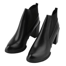 Wholesale Ankle Bootie Shoes - Wholesale- 2 Colors 1 Pair Women Ankle Boots Square High Heels Design Casual Outdoor Dress Winter Autumn Bootie Shoes Worldwide sale NO 1