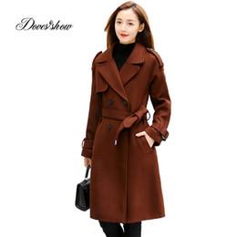 Giacca di jeans beige online-Cappotto di lana autunno inverno Cappotto di lana Cappotto lungo stampato lana monopetto Mujer Casaco Feminino giacca femminile miscele Outwear