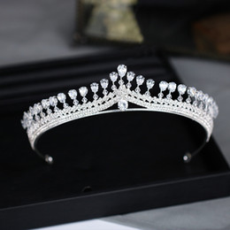 girls tiaras for wedding Promo Codes - Top Quality Wedding Bridal Bridesmaid Flower Cubic Zirconia Girls white plated zircon tiara crown headband For Prom Luxury Gift