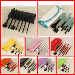 Wholesale Wallet Logos - NEWEST 9 color 7 pcs set wallet-type portable portable makeup brush set for beginners with LOGO wholesale Free Shipping