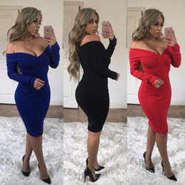 Wholesale off shoulder dress xl - Women Long Maxi Dress 2018 Spring Off the Shoulder Dress V-Neck Long Sleeve Sexy Bodycon Solid Party Dresses Plus Size