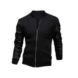 2019 stand für moto Mode PU Leder Patchwork Männer Jacken Moto Biker Stil Männlich Stehkragen Slim Fit Mantel Männer Oberbekleidung Veste Hommes Hot günstig stand für moto