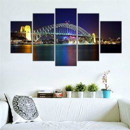 Wholesale Paintings Cityscapes - 5panels Sydney Cityscape Harbour Bridge ,HD Art Oil Painting Print on Canvas Home Wall Decoration posters Framed No Stretch