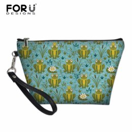 wholesale custom pouch cosmetic bag Coupons - FORUDESIGNS Frog Women PU Leather Zipper Pouch Bag Lady Makeup Bags Iguana Print Custom Cosmetic Bag Travel Make Up Cases