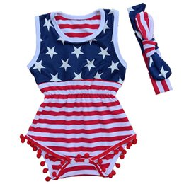 Wholesale Flag Day Kids - Baby American flag print Rompers infant Sleeveless stripe Jumpsuits 2018 summer Boutique kids Climbing clothes with headband 2pcs set C4069